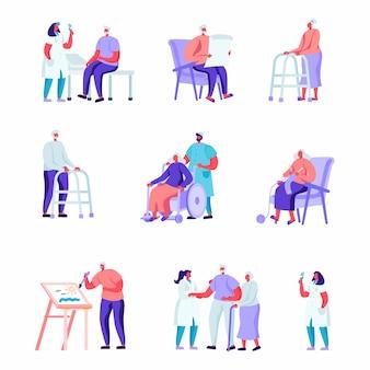 Conjunto de personas mayores planas en un hogar de ancianos que tienen personajes de ayuda médica
