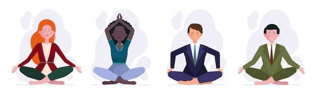Conjunto de personas meditando