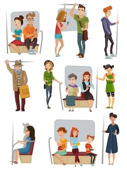 Conjunto de personas del metro