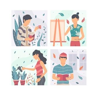 Conjunto de personas modernas de diseño plano realizando actividades culturales.