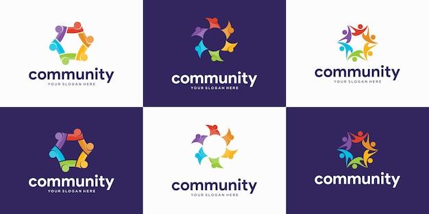 Conjunto de personas modernas y logotipo de la comunidad.