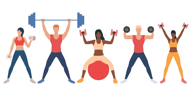 Conjunto de personas multiétnicas con pesas.