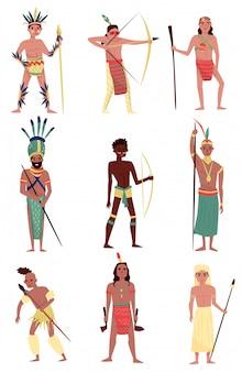 Conjunto de personas nativas armadas, indio americano, miembro de la tribu africana, personajes aborígenes australianos ilustraciones sobre un fondo blanco.