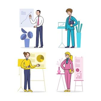 Conjunto de personas de negocios dibujados a mano