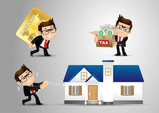 Conjunto de personas - negocios - negocios - concepto de deuda