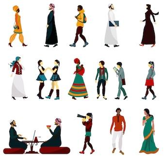 Conjunto de personas orientales