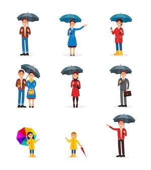 Conjunto de personas con paraguas, hombre, mujer y niños caminando bajo paraguas ilustración sobre un fondo blanco