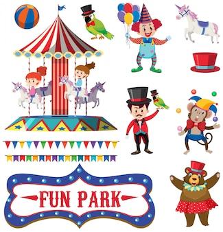 Conjunto de personas en el parque de diversión en blanco