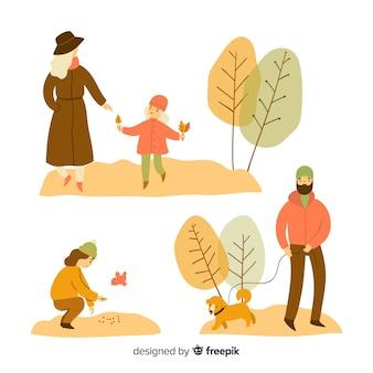 Conjunto de personas en el parque en otoño