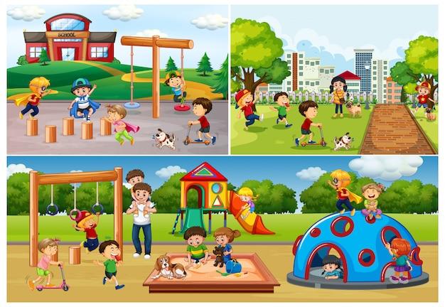 Conjunto de personas en el parque y patio de recreo.