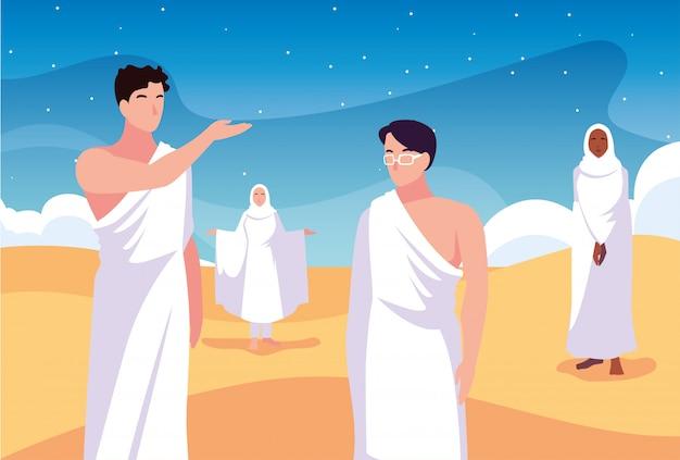 Conjunto de personas en peregrinación hajj
