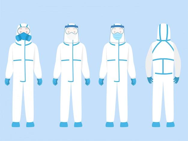 Conjunto de personas personaje con traje de protección personal ppe ropa