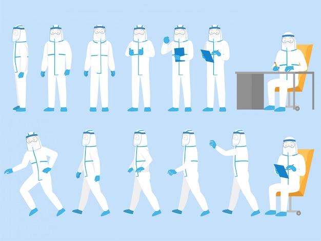 Conjunto de personas personaje con traje de protección personal ropa