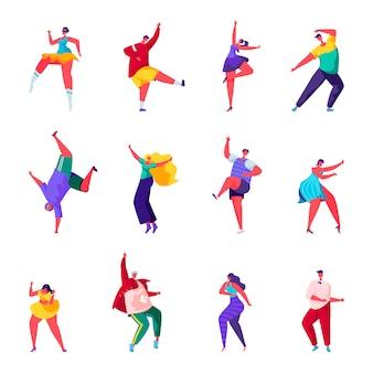 Conjunto de personas planas bailan en una fiesta de personajes