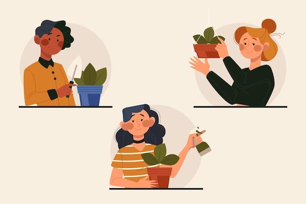 Conjunto de personas planas cuidando plantas.