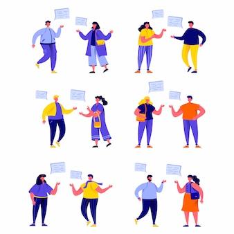 Conjunto de personas planas hablando entre sí con personajes de globos de diálogo