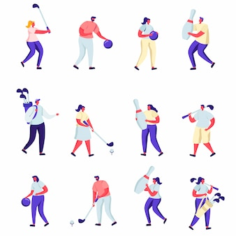 Conjunto de personas planas jugando al golf y personajes de bolos