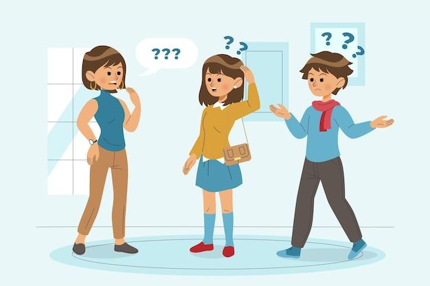 Conjunto de personas planas orgánicas haciendo preguntas.