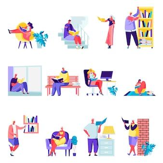 Conjunto de personas planas que leen o estudiantes que estudian personajes