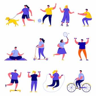 Conjunto de personas planas que realizan personajes de actividades deportivas