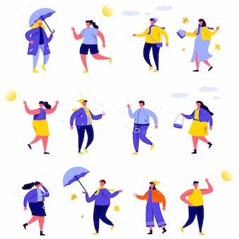 Conjunto de personas planas varios personajes del clima