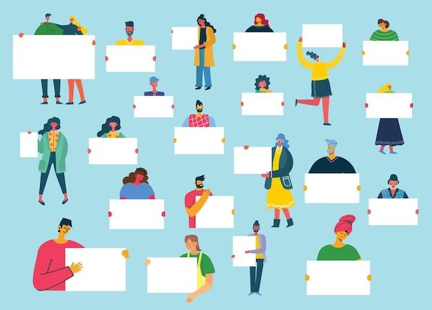 Conjunto de personas con presentaciones de banners, folletos, blogs, documentos y formularios en estilo plano