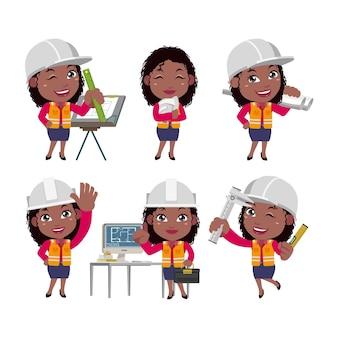 Conjunto de personas profesión conjunto de carácter constructor en diferentes poses