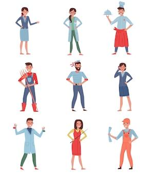Conjunto de personas profesiones diferentes. azafata, médico, chef, granjero, marinero, mujer de negocios, químico, constructor y profesor.