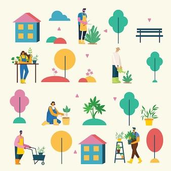Conjunto de personas del pueblo con alimentos orgánicos, flores y plantas en el diseño plano