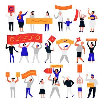 Conjunto de personas que protestaban con banderas.