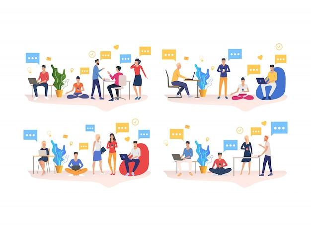 Conjunto de personas que trabajan en la oficina de coworking