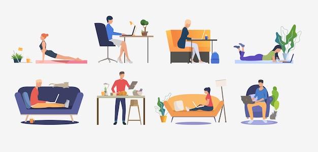 Conjunto de personas que usan computadoras y descansan.