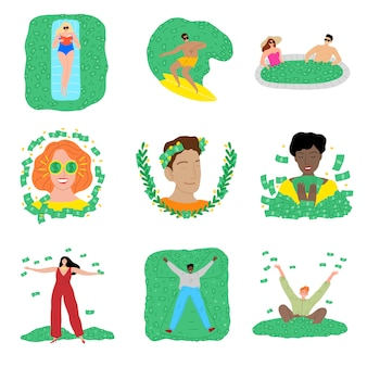 Conjunto de personas que viven la vida de lujo llena de dinero ilustración vectorial