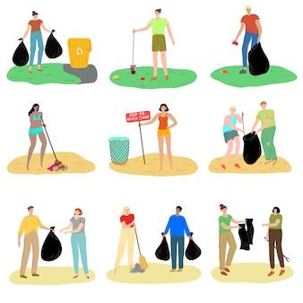 Conjunto de personas recogiendo basura en lugares públicos ilustración vectorial