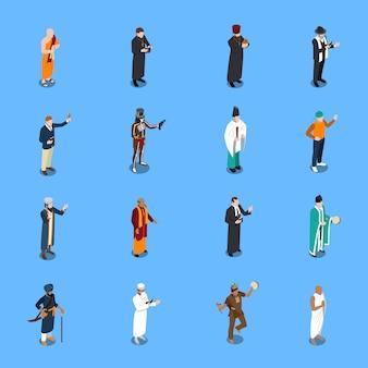Conjunto de personas religión isométrica s
