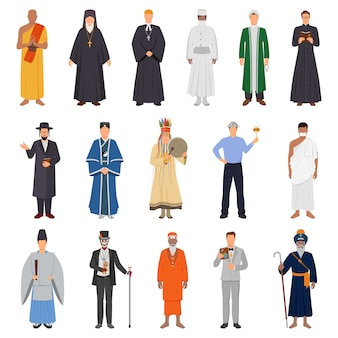 Conjunto de personas religiosas del mundo