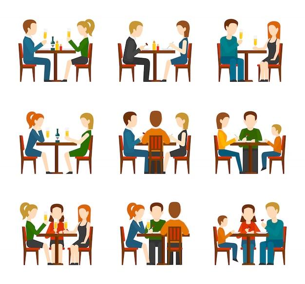 Conjunto de personas en restaurante