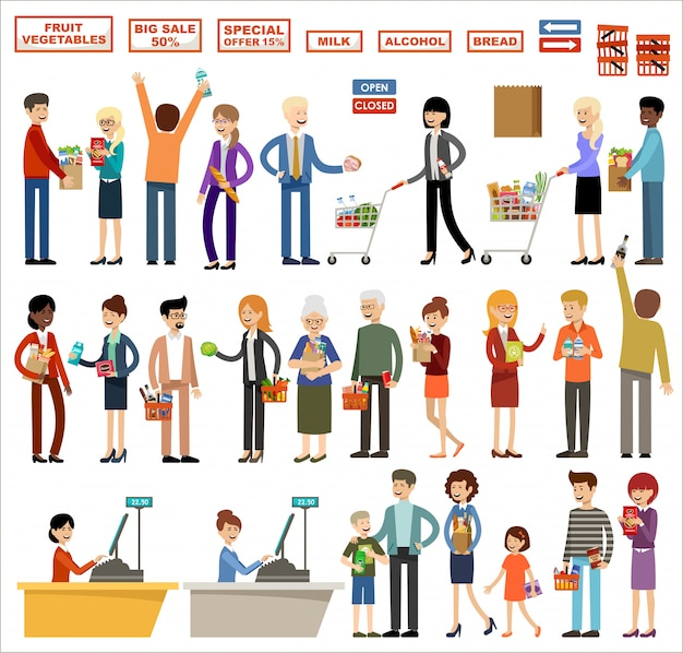 Conjunto de personas en un supermercado sobre un fondo blanco. compras, productos, compras
