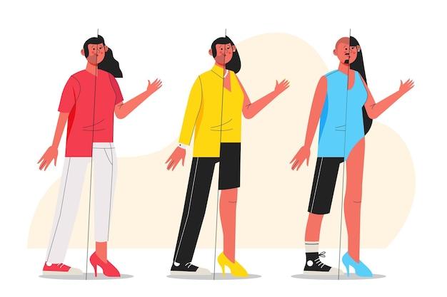 Conjunto de personas transgénero de diseño plano