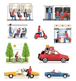 Conjunto de personas de vehículos de transporte