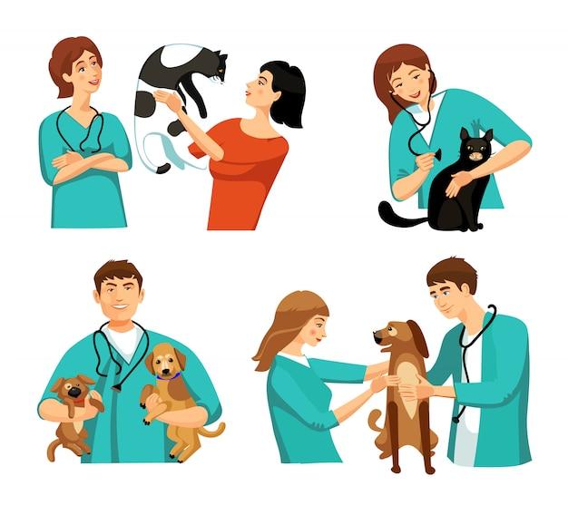 Conjunto de personas veterinarias