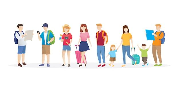 Conjunto de personas viajando