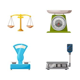 Conjunto de pesaje. conjunto de dibujos animados de pesaje