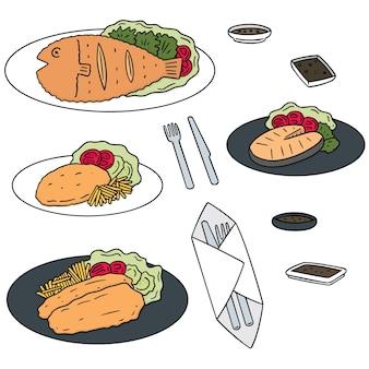 Conjunto de pescado frito