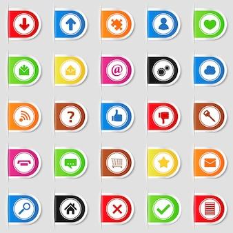 Conjunto de pestañas web con iconos, ilustración