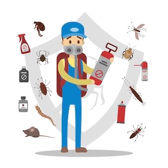 Conjunto de pesticidas e insectos. servicio de control de plagas.
