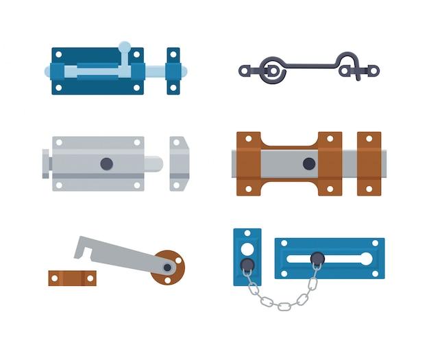 Conjunto de pestillos metálicos, pernos, ganchos y cadena. herrajes de seguridad de acero.