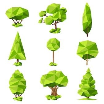 Conjunto de pictogramas abstractos de árboles.