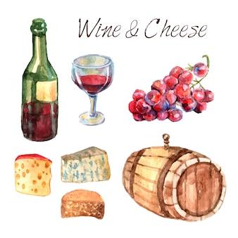 Conjunto de pictogramas de acuarela de vino y queso.