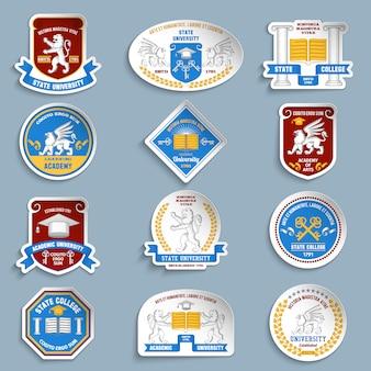 Conjunto de pictogramas de insignias universitarias.